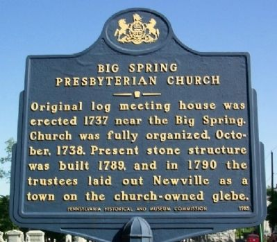 Big Spring Presbyterian Church Marker image. Click for full size.