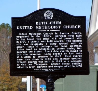 Bethlehem United Methodist Church Marker image. Click for full size.