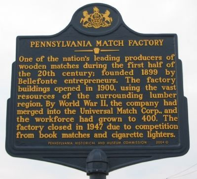 Pennsylvania Match Factory Marker Photo, Click for full size