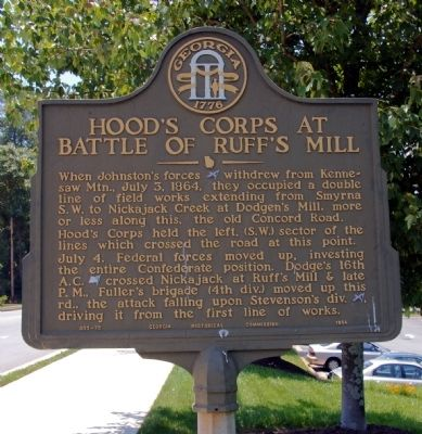 Hood's Corps at Battle of Ruff's Mill Marker image. Click for full size.