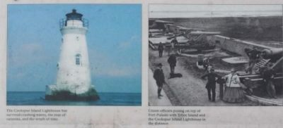 The Cockspur Island Lighthouse, and Union officers posing image. Click for full size.
