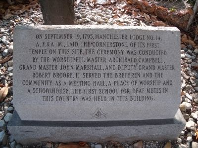 Manchester Lodge No. 14 Marker image. Click for full size.