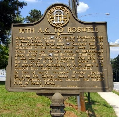 16th A.C. to Roswell Marker image. Click for full size.