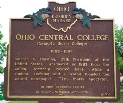 Ohio Central College Marker image. Click for full size.