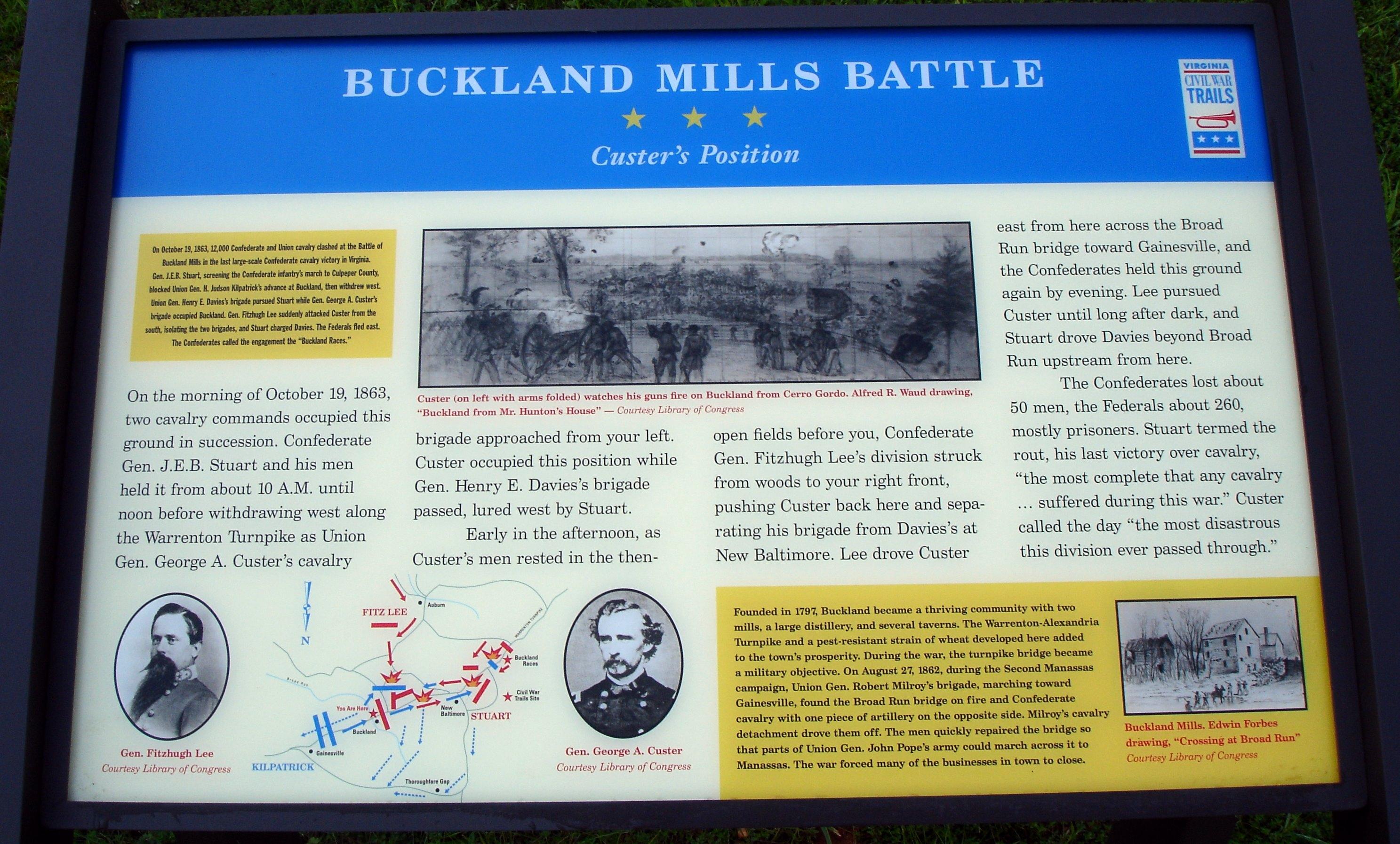 Buckland Mills Battle Marker