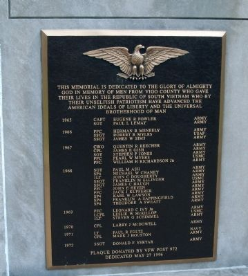 Bronze - - Vietnam War Memorial - - Vigo County Marker image. Click for full size.
