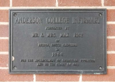 Anderson College Infirmary Marker Photo, Click for full size