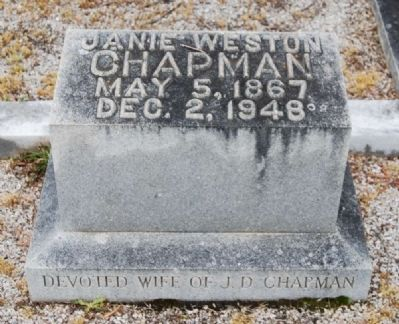 Mrs. J.D. Chapman Tombstone -<br>Old Silverbrook Cemetery, Anderson, SC image. Click for full size.