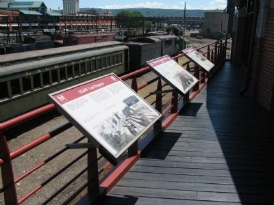 Markers on the Overlook of the Rail Yard image. Click for full size.