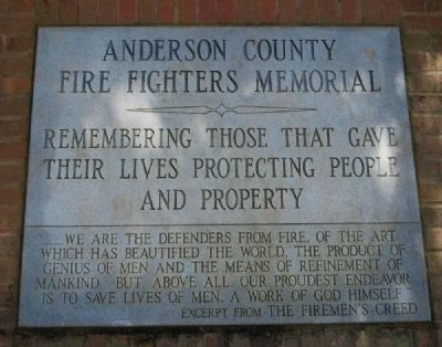 Anderson County Fire Fighters Memorial Marker image. Click for full size.