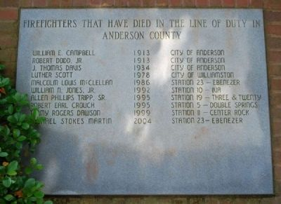 Anderson County Fire Fighters Memorial image. Click for full size.