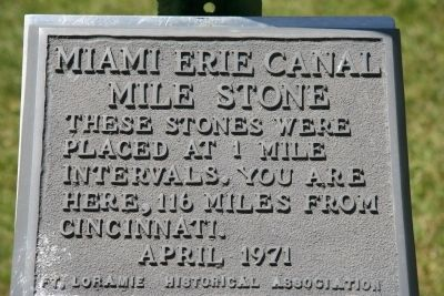 Miami Erie Canal Mile Stone Marker Photo, Click for full size