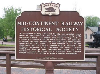 Mid–Continent Railway Historical Society Marker image. Click for full size.