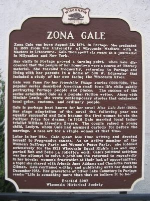 Zona Gale Marker image. Click for full size.