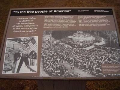 """To the free people of America"" Marker image. Click for full size."