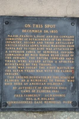 Dade Battlefield Marker image. Click for full size.