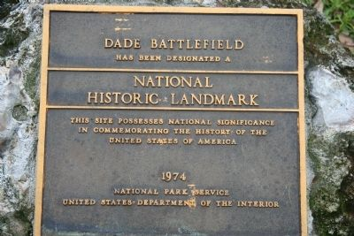 Dade Battlefield Marker Photo, Click for full size