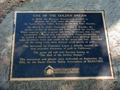 Oak of the Golden Dream Marker Photo, Click for full size