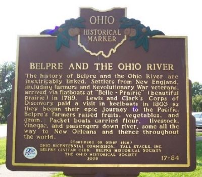 Belpre and the Ohio River Marker (Side A) image. Click for full size.