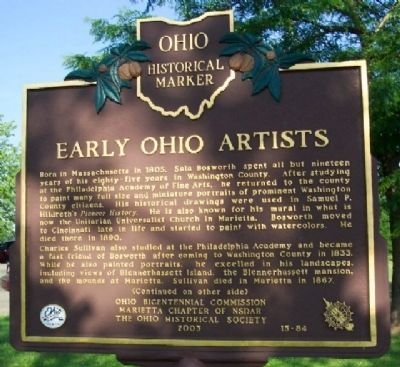 Early Ohio Artists Marker (Side A) image. Click for full size.