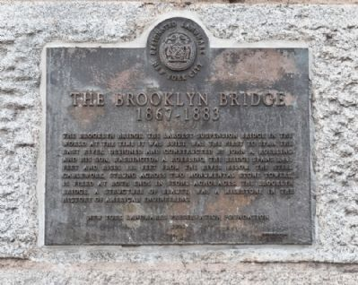 The Brooklyn Bridge Marker Photo, Click for full size