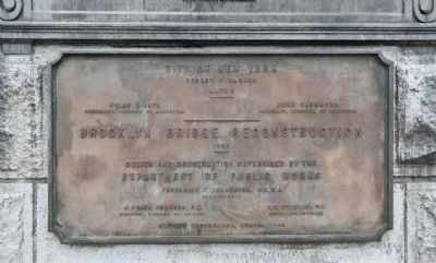 Brooklyn Bridge Reconstruction Marker Photo, Click for full size