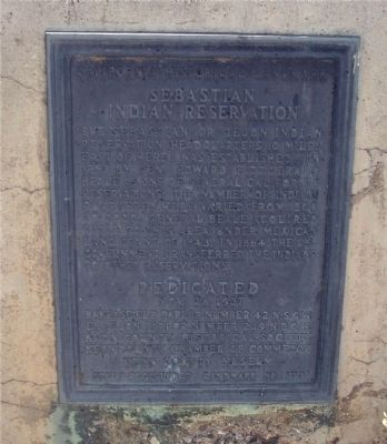 Sebastian Indian Reservation Marker Photo, Click for full size