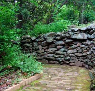 Paris Mountain State Park -<br>Brick Walkway and Low Stone Wall image. Click for full size.