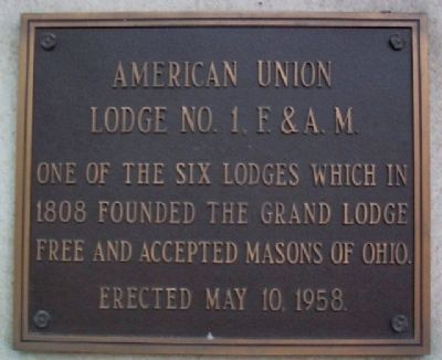 American Union Lodge No. 1, F. & A. M. Marker image. Click for full size.