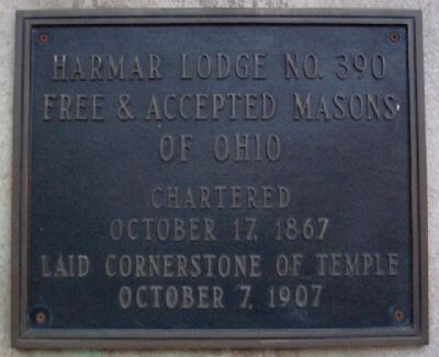 Harmar Lodge No. 390, F. & A. M. Marker image. Click for full size.
