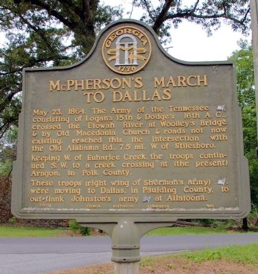 McPherson�s March to Dallas Marker image. Click for full size.
