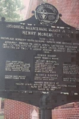 An earlier Turner AME Bicentenniel Marker, dedicated March 15, 1987 in the bishop's birthplace image. Click for full size.