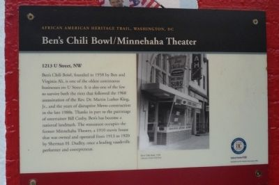Ben's Chili Bowl / Minnehaha Theater Marker image. Click for full size.