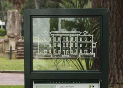 Plexiglass etching of the Palmetto Bluff Mansion atop marker image. Click for full size.