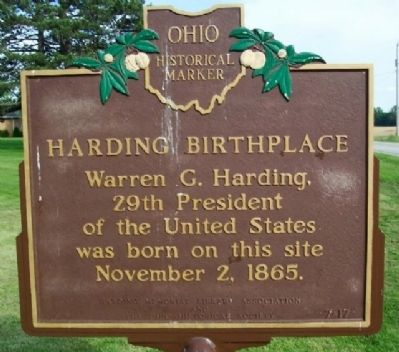 Harding Birthplace Marker image. Click for full size.