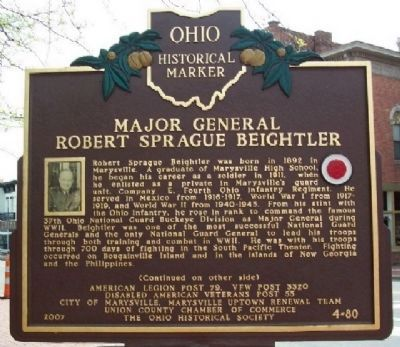 Major General Robert Sprague Beightler Marker (Side A) image. Click for full size.