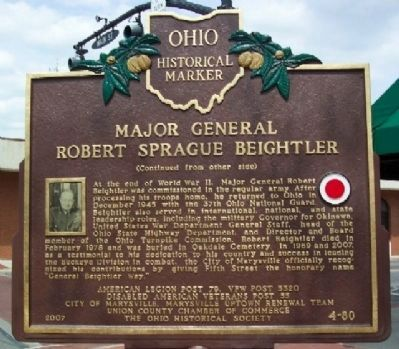 Major General Robert Sprague Beightler Marker (Side B) image. Click for full size.