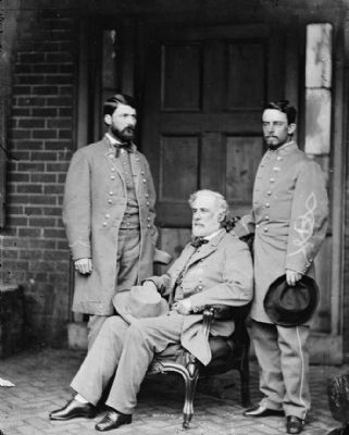 Robert E. Lee with son Custis (left) and aide Walter H. Taylor (right). image. Click for full size.