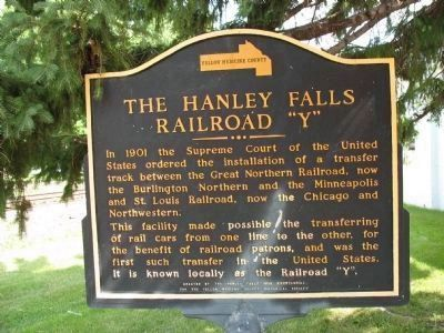 "The Hanley Falls Railroad ""Y"" Marker image. Click for full size."