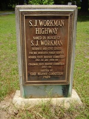 S.J. Workman Highway Marker image. Click for full size.