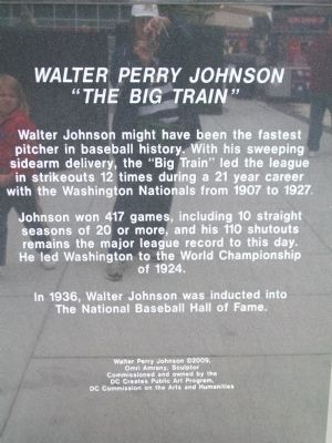Walter Perry Johnson Marker Photo, Click for full size