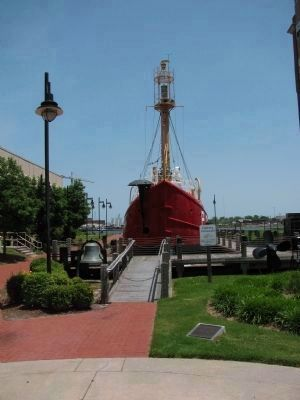 Lightship and National Historic Landmark Marker image. Click for full size.