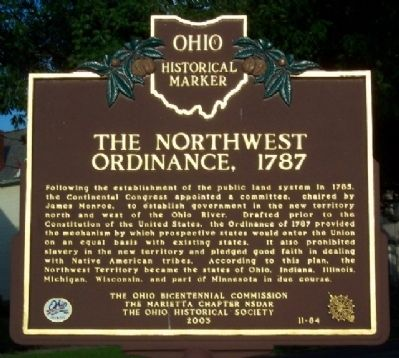 The Northwest Ordinance, 1787 Marker (Side A) image. Click for full size.