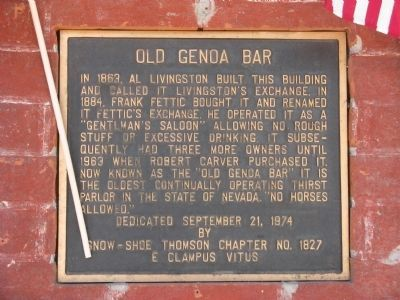 Old Genoa Bar Marker image. Click for full size.
