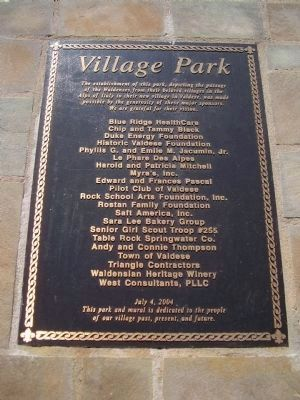 Village Park Dedication Plaque image. Click for full size.