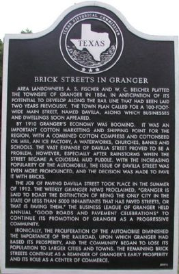 Brick Streets in Granger Marker image. Click for full size.