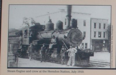 Steam Engine and Crew at Herndon Station, July 1910 Photo, Click for full size