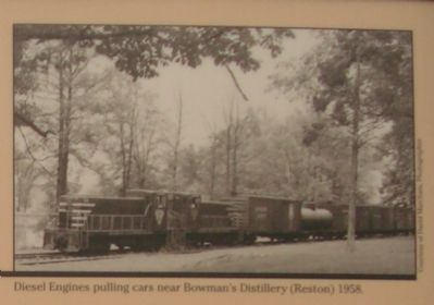 Diesel Engines pulling cars near Bowman's Distillery (Reston), 1958 Photo, Click for full size