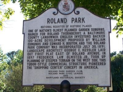 Roland Park Marker Photo, Click for full size