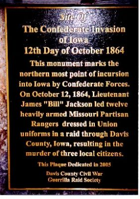 The Confederate Invasion of Iowa Marker Photo, Click for full size